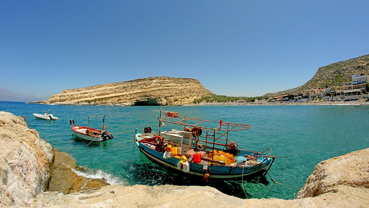 Crète - Vue sur le port de Matala