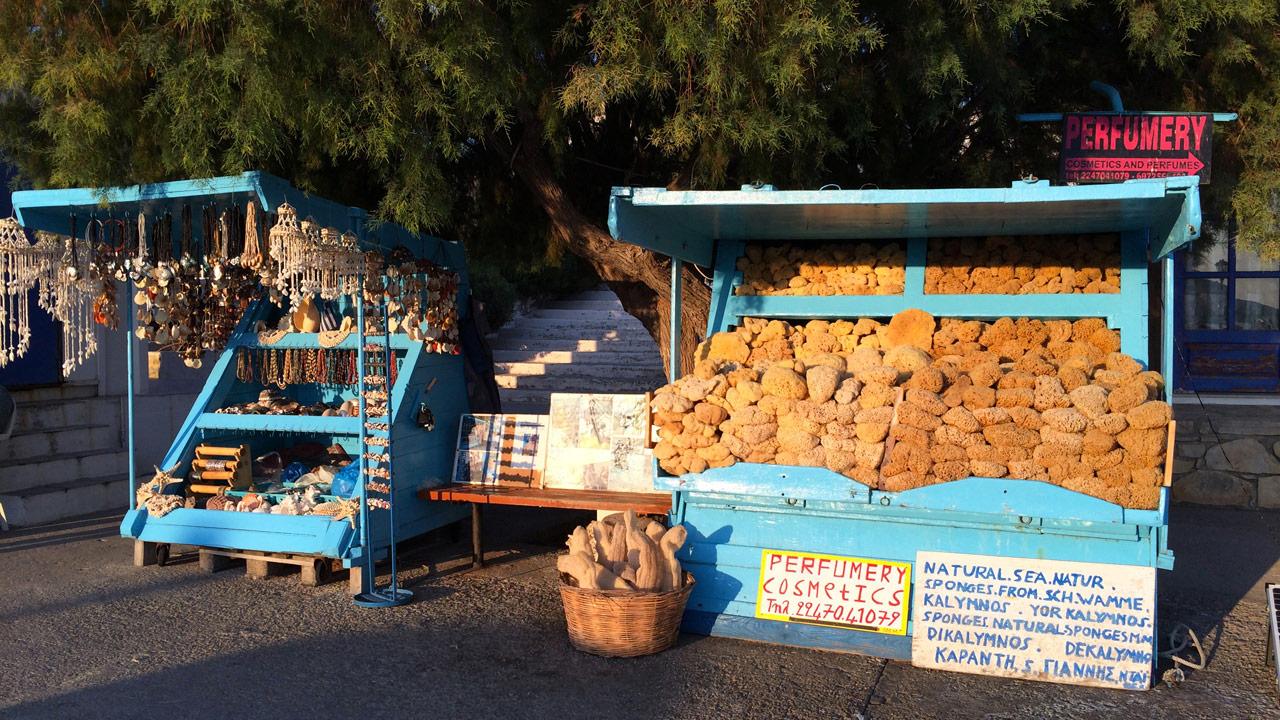 Lipsi, Grèce - Le marchand d'éponge du port