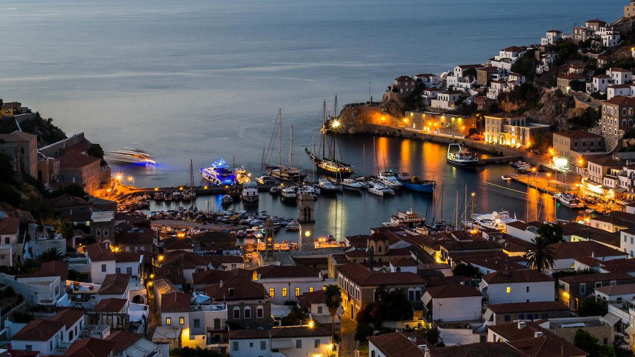 Hydra - Le port au coucher du soleil