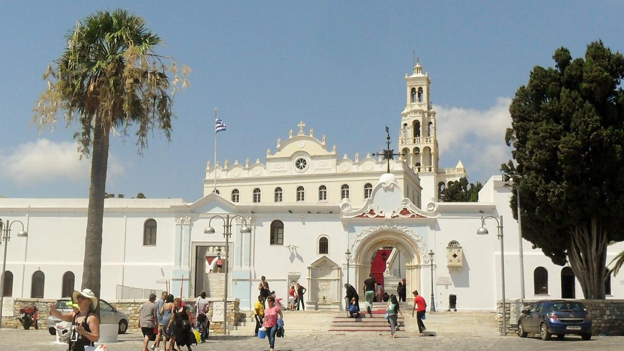 Tinos, Grèce: le sanctuaire de la Panaghia Evangelistria