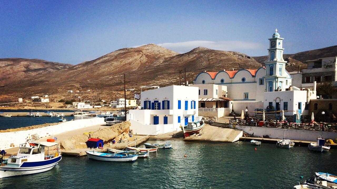 Kasos, Dodécanèse, Grèce - vue sur le port de fry