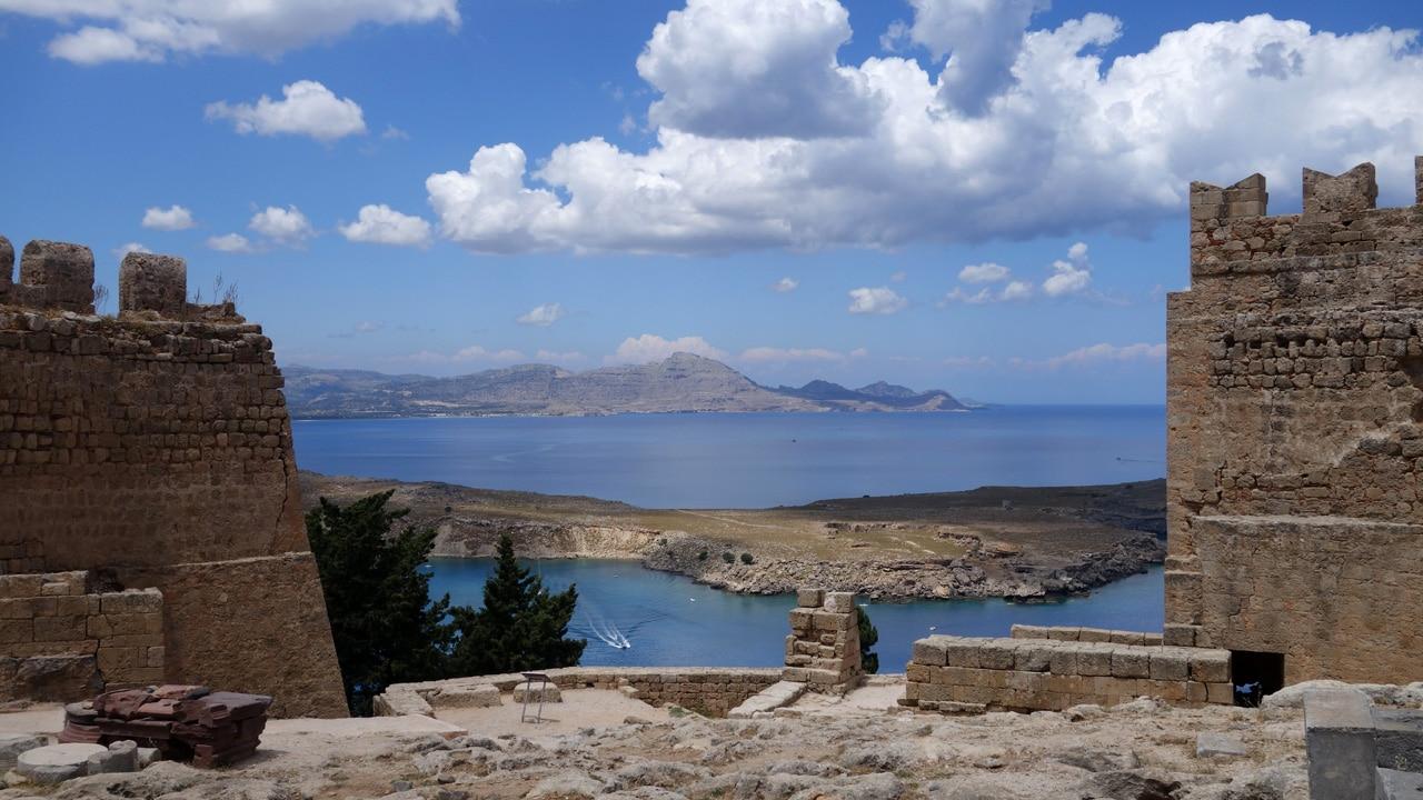 Rhodes, Grèce - Vue depuis le chateau de Lindos