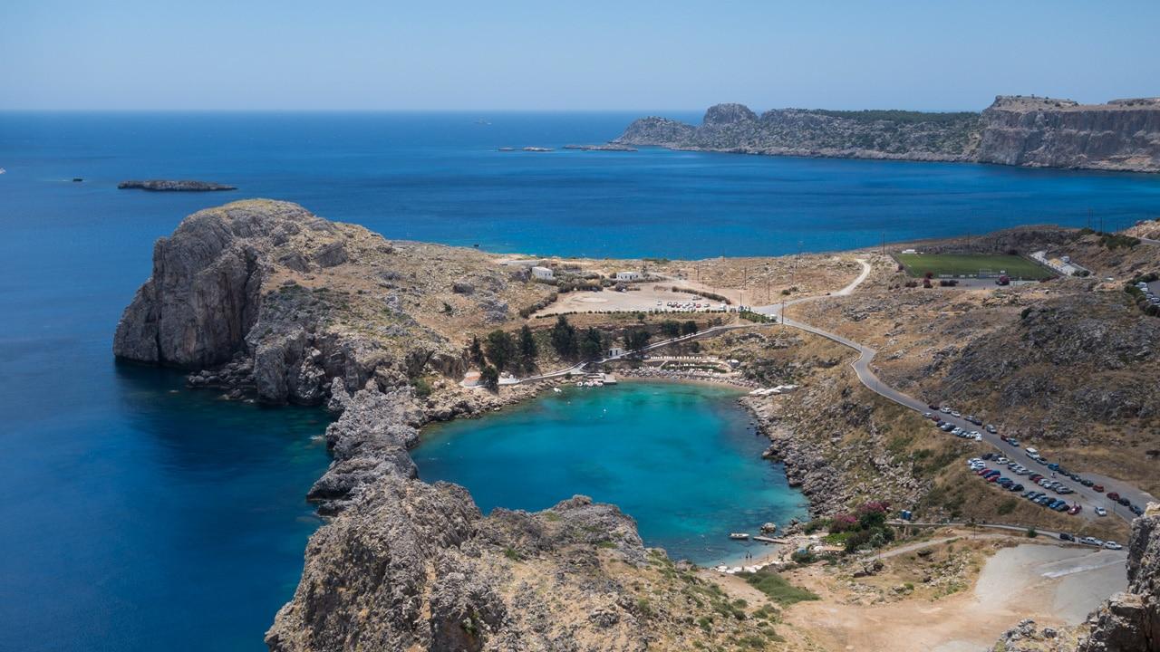 Rhodes, Grèce - Vue sur la baie de Saint Paul à Lindos