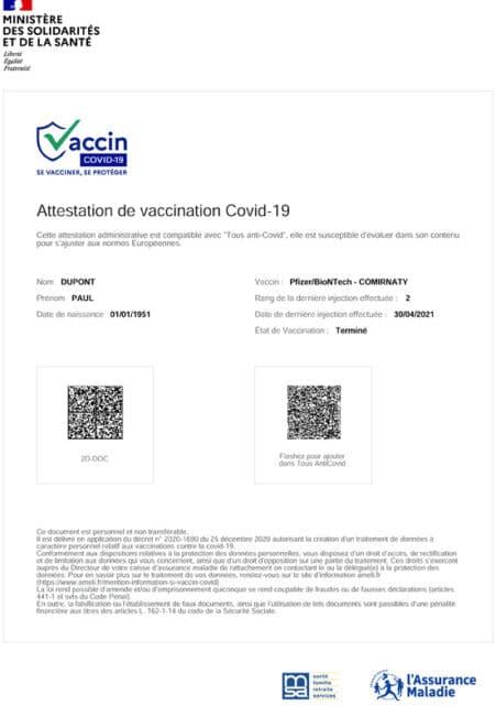 exemple attestation de vaccination certifiée